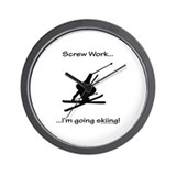 Screw Work-I'm Going Skiing Wall Clock