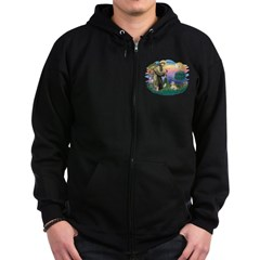 St Francis #2 / Lhasa Apso (R) Zip Hoodie (dark)