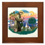 St. Francis #2 / Italian Greyhound Framed Tile