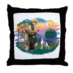 St. Francis #2 / Italian Greyhound Throw Pillow