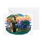 St. Fran #2/ Blue Great Dane Greeting Cards (Pk of