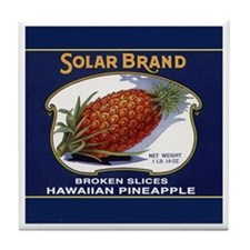 'Solar Brand' Pineapple Label Tile Coaster