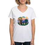 St.Fran. #2/ Havanese pup Women's V-Neck T-Shirt