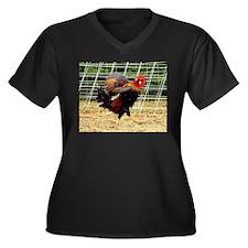 Ruffled Rooster Women's Plus Size V-Neck Dark T-Sh