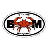 Bite Me Maryland Steamed Crab Euro Oval Decal