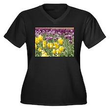 Simply Tulips Y&P Women's Plus Size V-Neck Dark T-