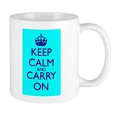 Keep Calm and Carry On Blue Blue Small Mug Front+Back