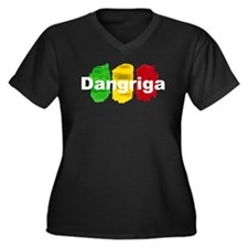 Dangriga Ras Women's Plus Size V-Neck Dark T-Shirt