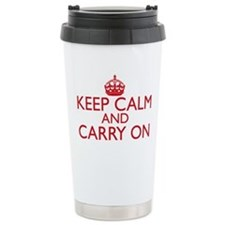 Keep Calm and Carry On Fire Engine Red Travel Mug