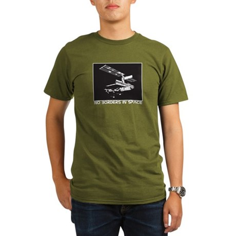 no borders in space Organic Men's T-Shirt (dark)