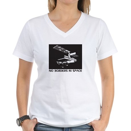 no borders in space Women's V-Neck T-Shirt