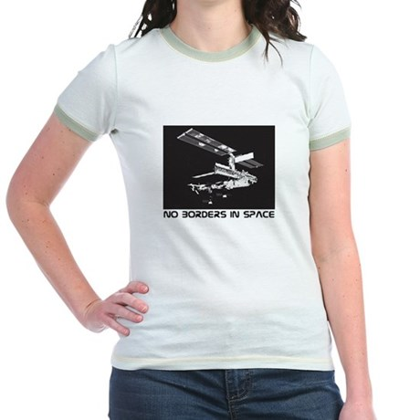 no borders in space Jr. Ringer T-Shirt