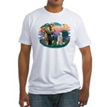 St. Fran #2/ Great Pyrenees #1 Fitted T-Shirt