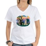 St. Fran #2/ Great Pyrenees #1 Women's V-Neck T-Sh
