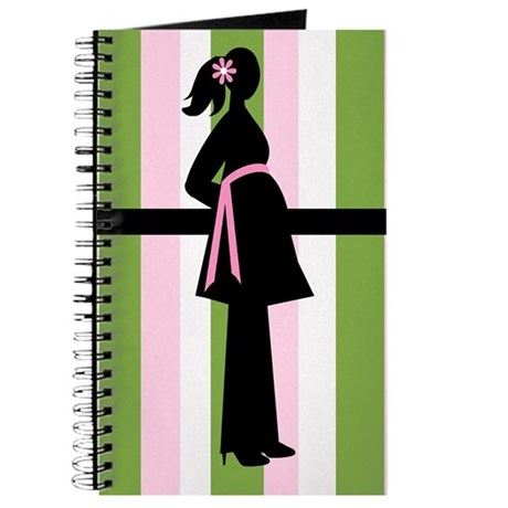 Silhouette Mom Striped Pregnancy Journal