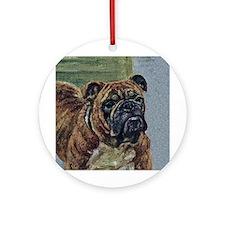 Brindle Bulldog Art Ornament (Round)