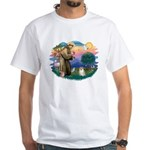 St Francis #2 / Pomeranian (#1) White T-Shirt