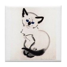 Siamese Cat Art Tile Coaster