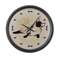 Laid Back Siamese with Leaves Large Wall Clock