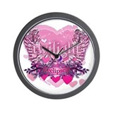 Twilight Eclipse Pink Heart Wall Clock
