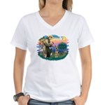 St. Fran #2/ German Shepherd (P) Women's V-Neck T-