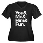 You and Me and Him Women's Plus Size V-Neck Dark T