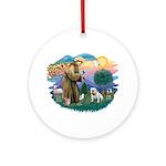 St. Fran #2/ English Bulldog (W) Ornament (Round)