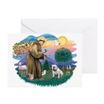 St. Fran #2/ English Bulldog (W) Greeting Cards (P