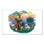 St. Fran #2/ English Bulldog (W) Sticker (Rectangl