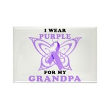 I Wear Purple for My Grandpa Rectangle Magnet (100