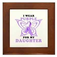 I Wear Purple for My Daughter Framed Tile