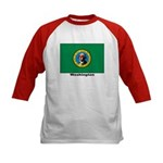 Washington State Flag (Front) Kids Baseball Jersey