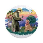 St Francis #2/ Golden Ret (B4) Ornament (Round)