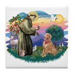 St Francis #2/ Golden Ret (B4) Tile Coaster