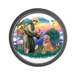 St Francis #2/ Golden Ret (B4) Wall Clock