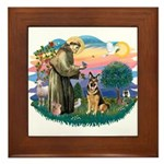 St. Fran #2/ German Shepherd (w) Framed Tile