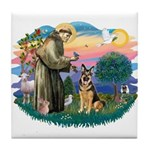 St. Fran #2/ German Shepherd (w) Tile Coaster
