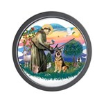 St. Fran #2/ German Shepherd (w) Wall Clock