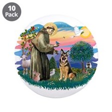 "St. Fran #2/ German Shepherd (w) 3.5"" Button (10 p"