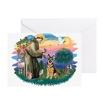 St. Fran #2/ German Shepherd (w) Greeting Card