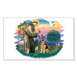 St. Fran #2/ German Shepherd (w) Sticker (Rectangl