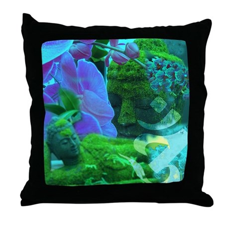 Buddhas & Orchids Throw Pillow