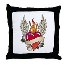 Flying Flaming Heart Tattoo Throw Pillow