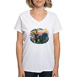 St Francis #2/ Briard (blk) Women's V-Neck T-Shirt