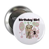 "Girl Monkey 3rd Birthday 2.25"" Button"