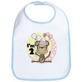 Girl Monkey 2nd Birthday Bib