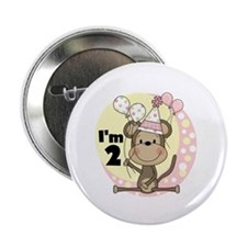 "Girl Monkey 2nd Birthday 2.25"" Button"