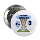 "Boy Monkey 3rd Birthday 2.25"" Button"