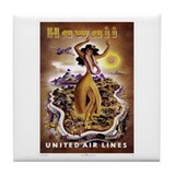 Retro United Hawaii Poster Tile Coaster