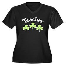 Teacher Shamrocks Women's Plus Size V-Neck Dark T-